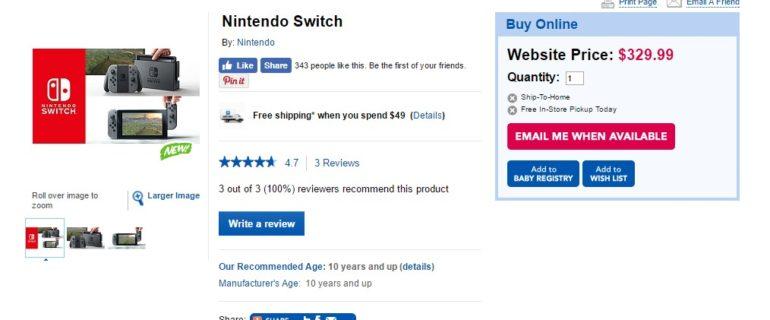 """Nintendo Switch, la catena Toys """"R"""" Us svela il prezzo della console?"""